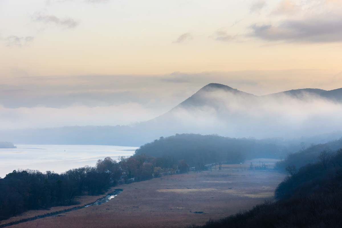 Morning Fog over Sugar Loaf, Hudson Valley