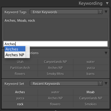 Applying keywords using Command+K (Control+K PC)